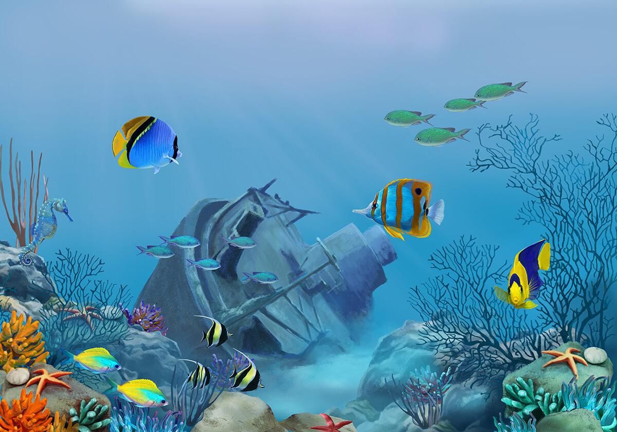 Obrazy 3D głebia Oceanu