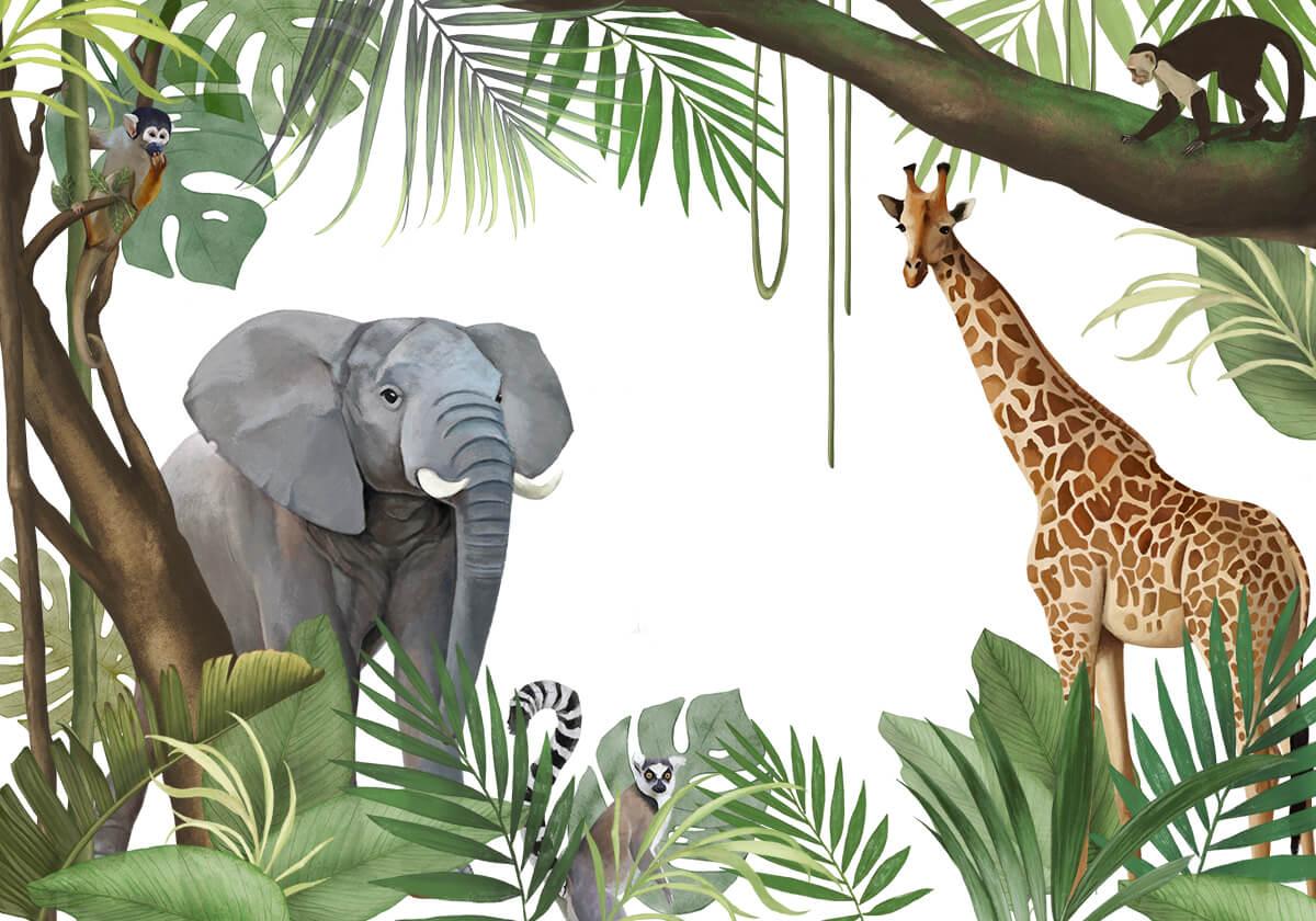 artystyczna fototapeta na wymiar Dżungla Zwierzęta