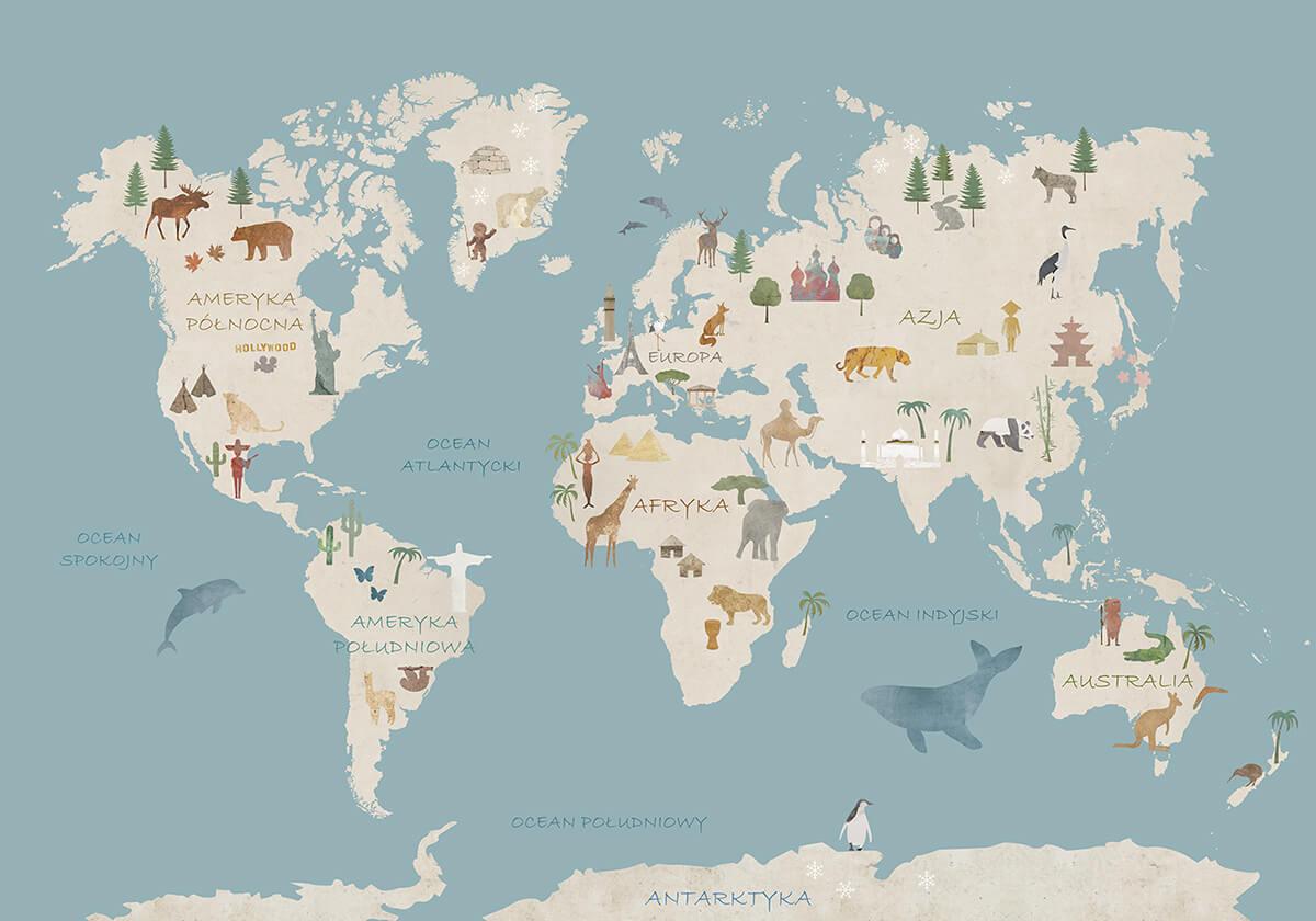 Artystyczna tapeta edukacyjna - Mapa Poznaje Świat