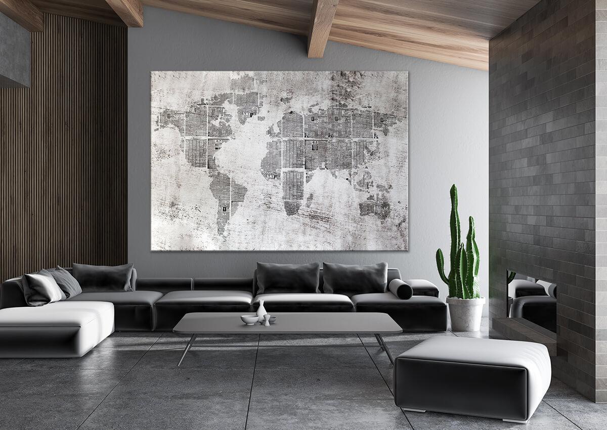 nowoczesny salon - obrazy na ścianę Mapy