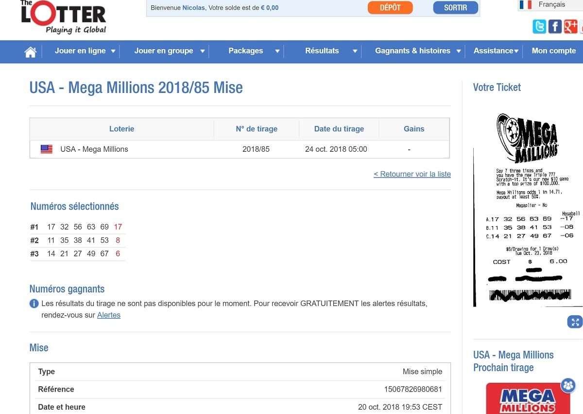Récapitulatif des grilles jouées sur The Lotter pour Mega Millions