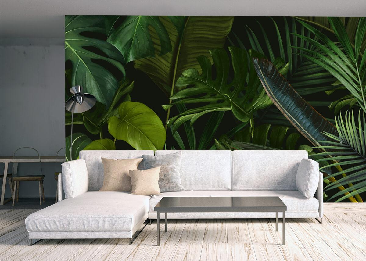 olbrzymie zielone liście palmy-tapeta do salonu
