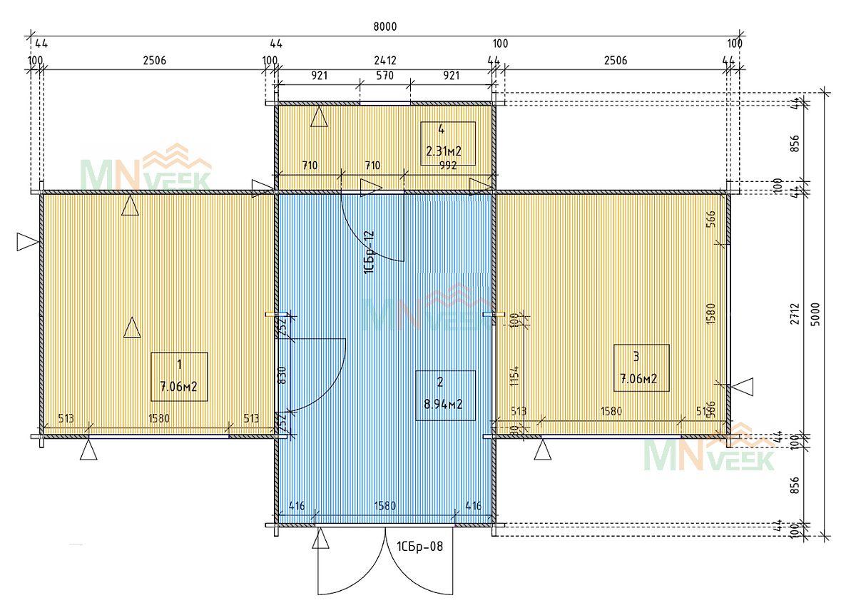 Bungalow de Madera Tajo 8000mm x 5000mm 45mm_plano_MNVEEK