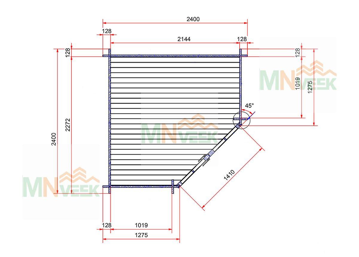 Caseta de jardin Elba 2400mm x 2400mm 28mm plano mnveek