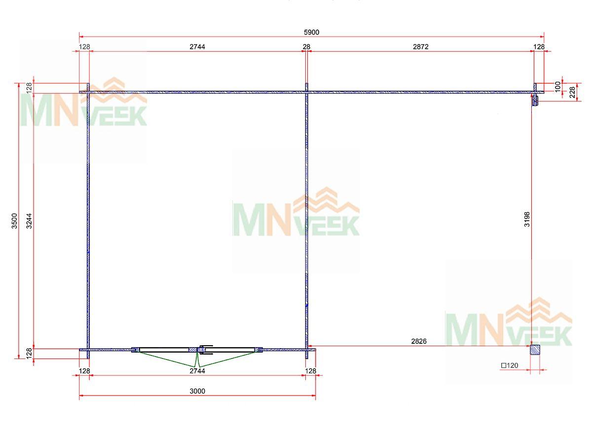 Caseta de jardin Montecristo 5900mm x 3500mm 28mm plano mnveek