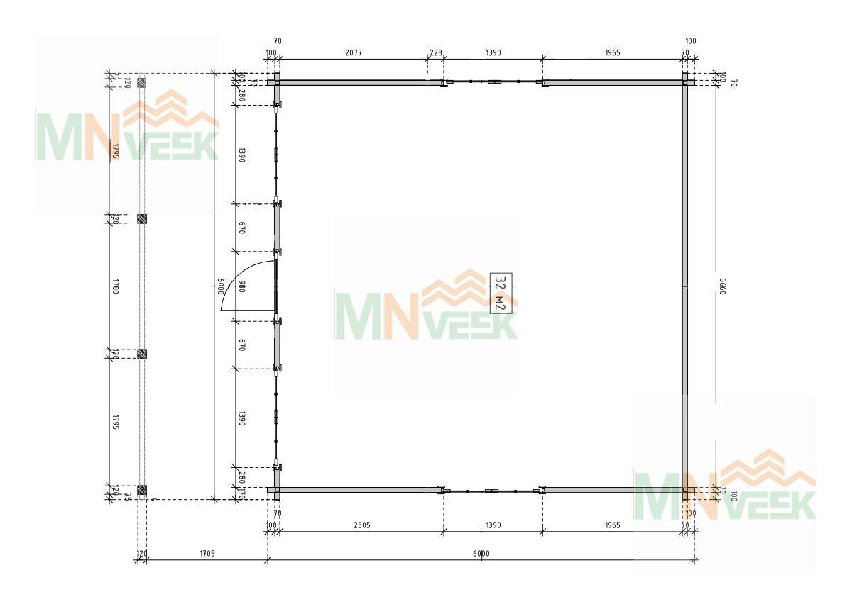 Caseta de madera Eva 6000mm x 8100mm 70mm plano mnveek