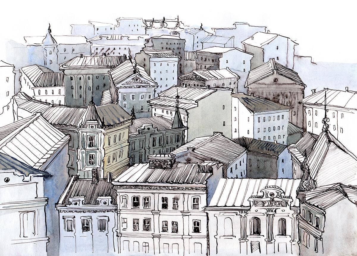 Piękna fototapeta do sypialni Dachy Miasta