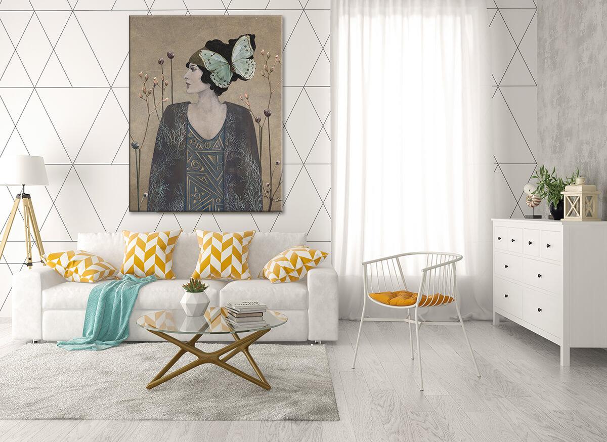 Jasny pokój dzienny zna ścianie piękna kobieta obraz na płótnie