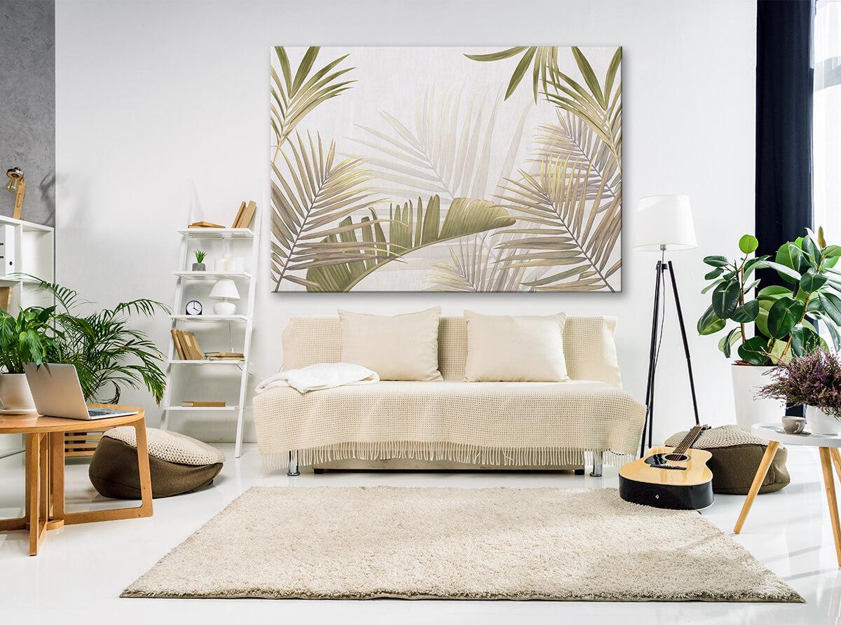 aranżacja salonu z wykorzystaniem obrazu na ścianę w liście palm