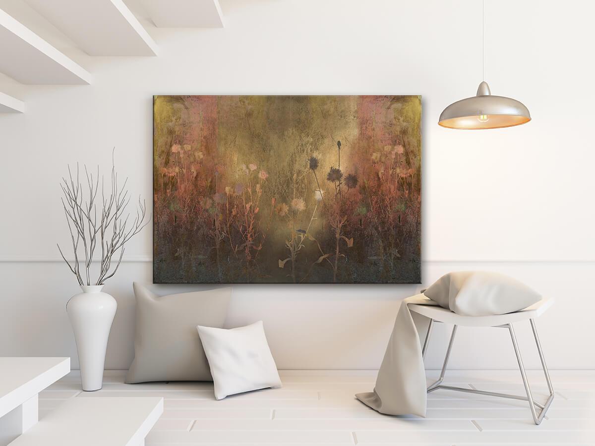 kwiaty w kolorze złoto-miedzianym - nowoczesny obraz na płótnie