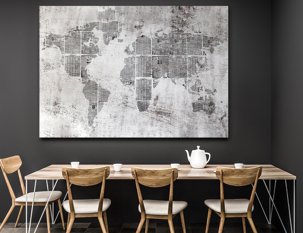 Nowoczesna jadalnia - obrazy na ścianę Mapa Świata