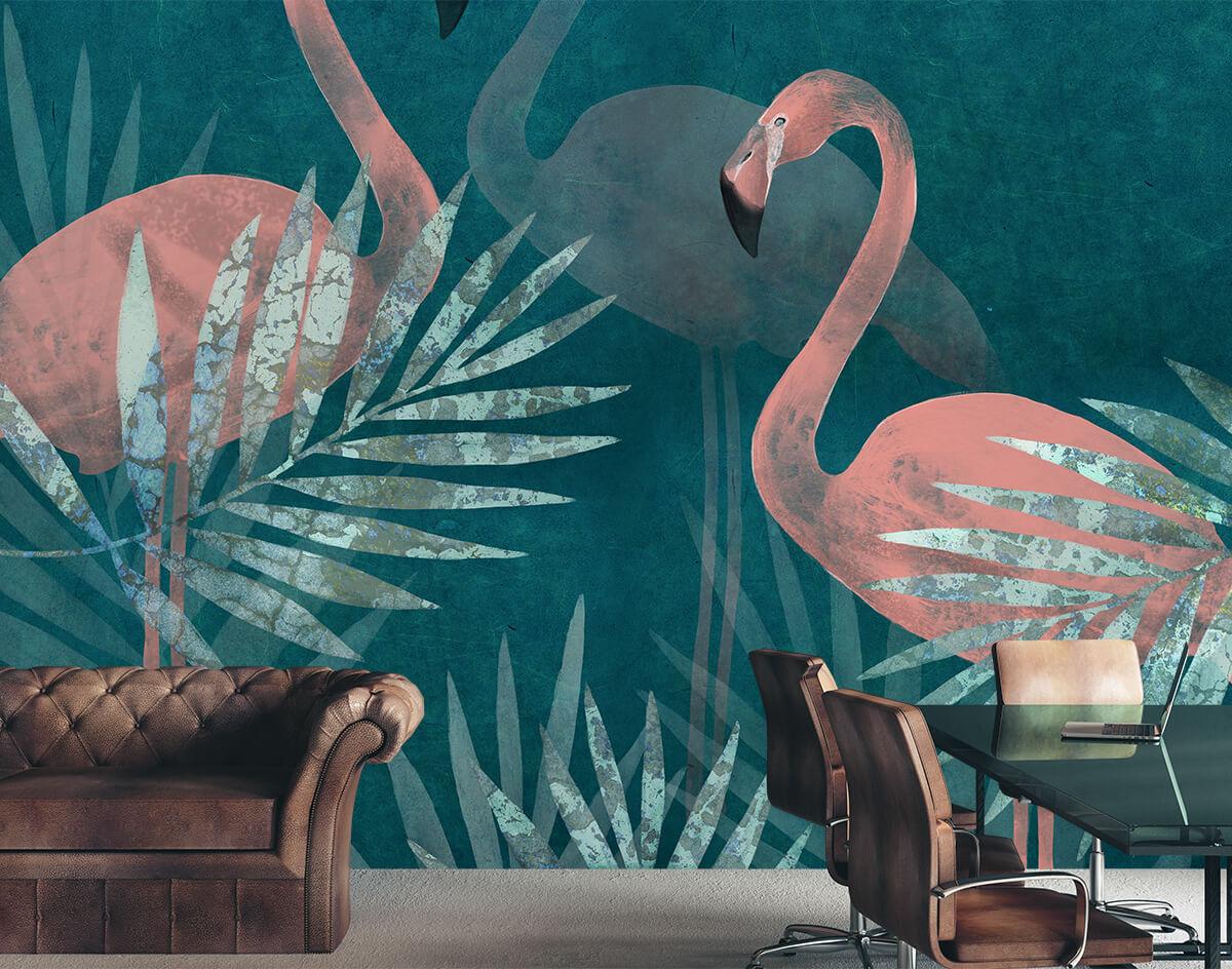 Aranżacja wnętrza -tapeta różowe flamingi
