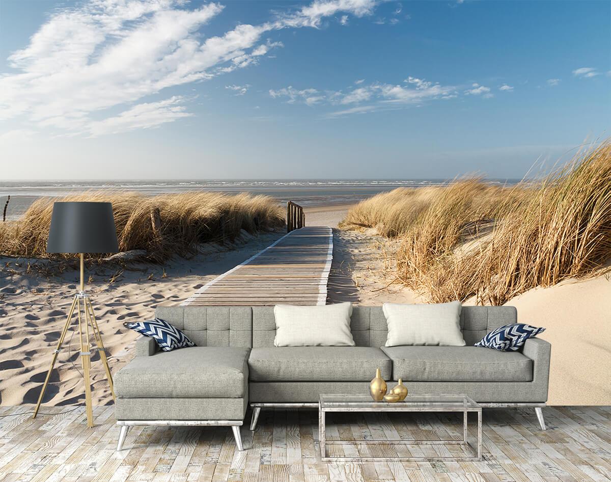 Salon w stylu skandynawskim i fototapeta morska z efektem 3D