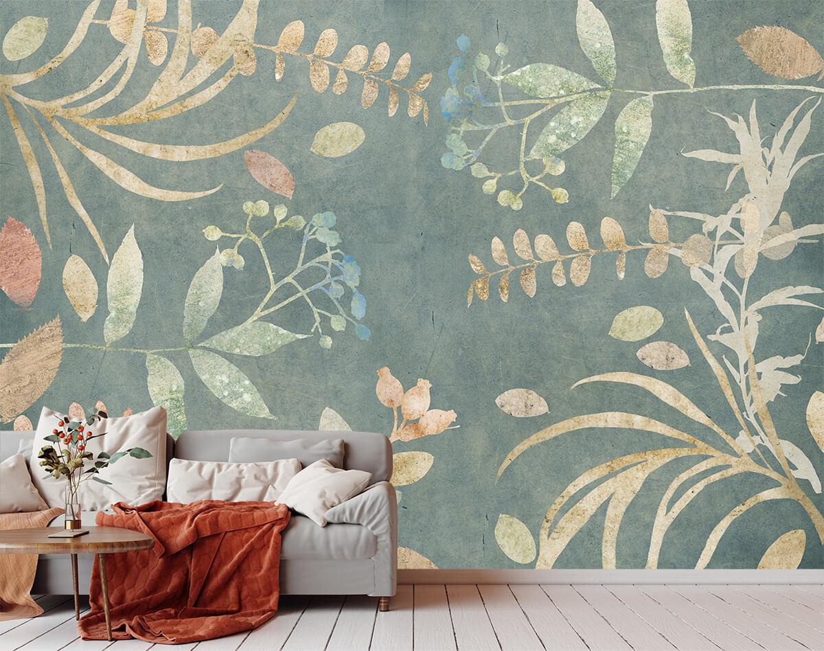 Aranżacja salonu w stylu skandynawskim i tapeta w liście i kwiaty