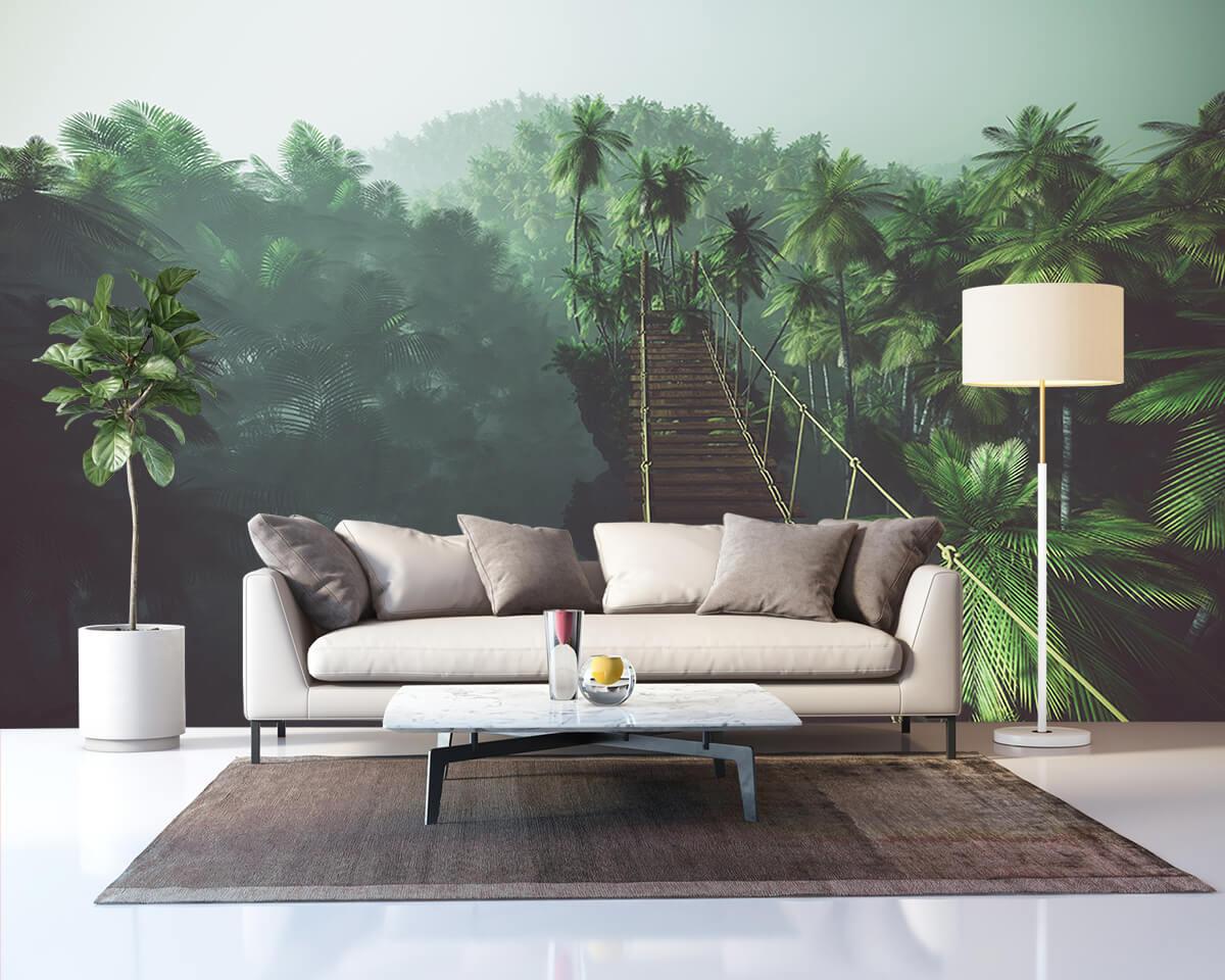 Nowoczesny salon - fototapety z efektem 3D - Most linowy