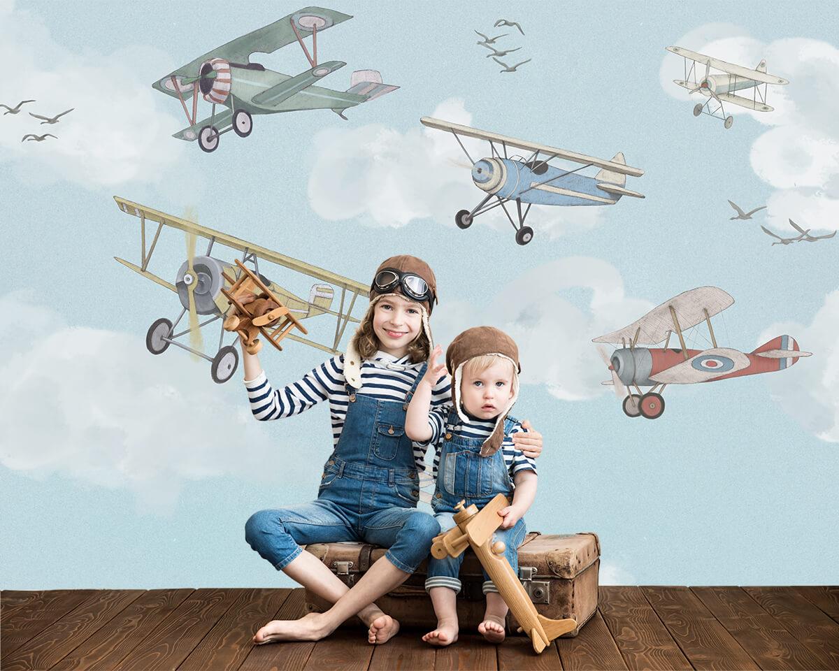 Fototapety dla dzieci - Samoloty Vintage
