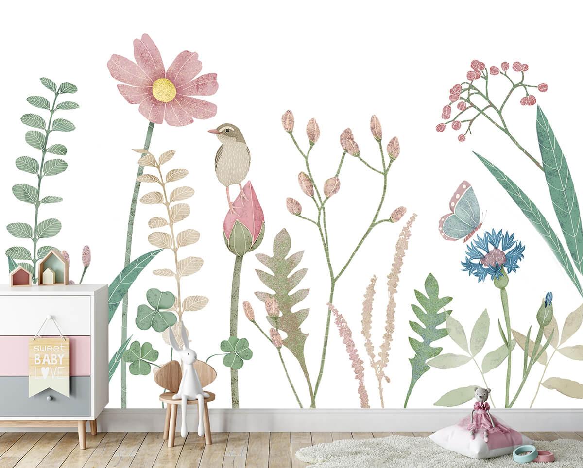 aranżacja pokoju dziecięcego piękna fototapeta z roślinami i zwierzętami