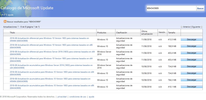 Historial de actualizaciones online de Windows 10