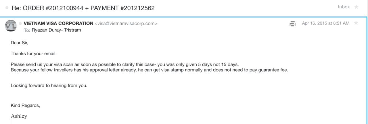 Vietnam visa online scam email convo