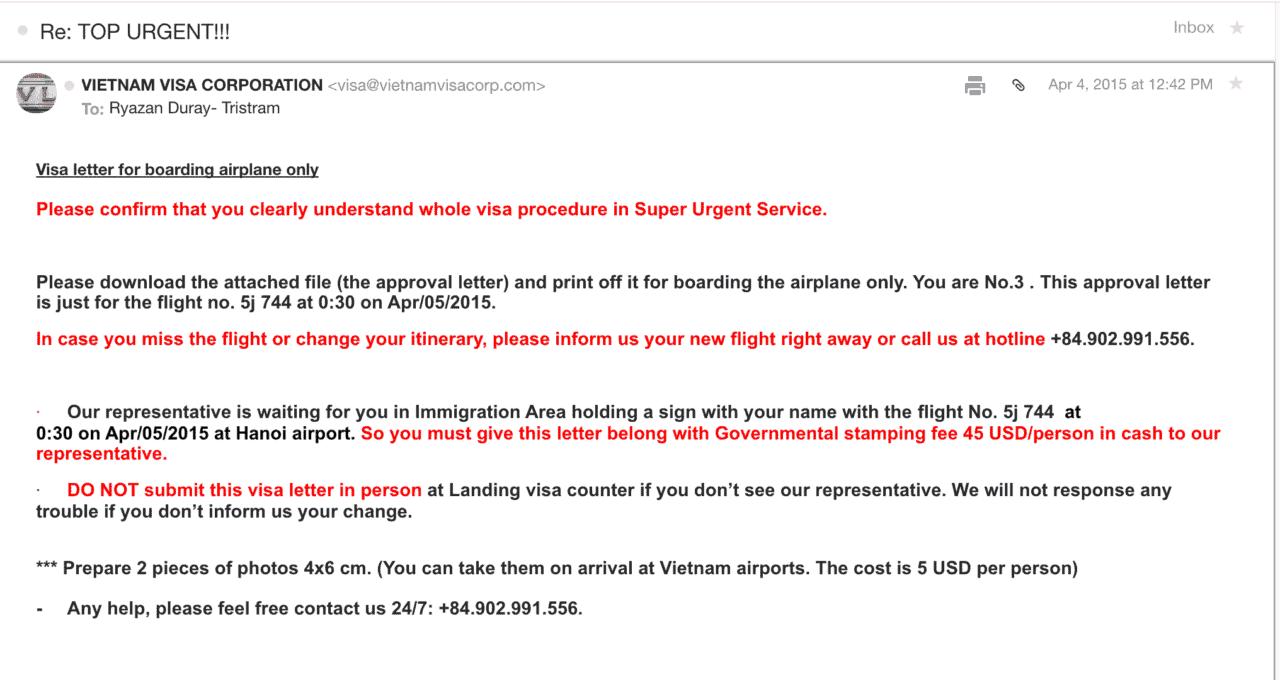 Vietnam visa online scam