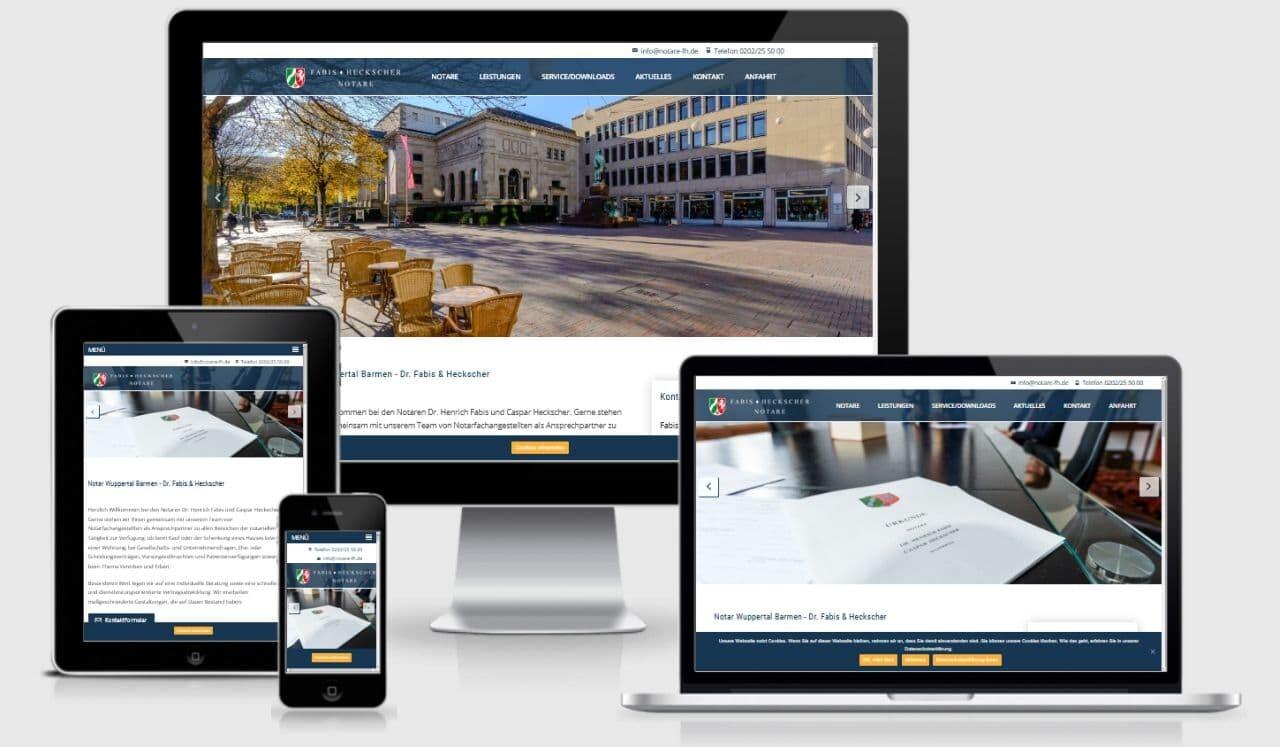 Notare Heckscher Fabis WordPress Webdesign mit Responsiv für mobile Benutzerfreudlichkeit
