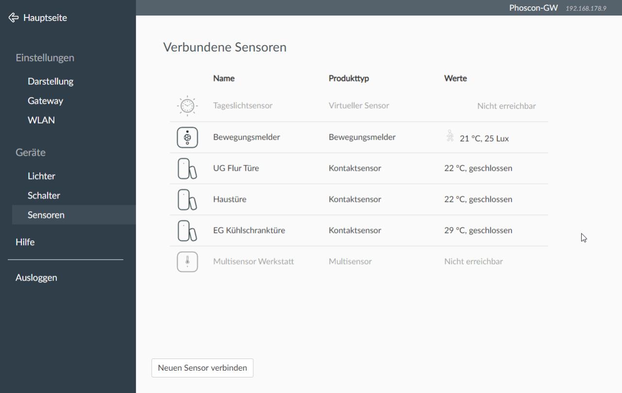 Phoscon ConBee Benutzeroberfläche