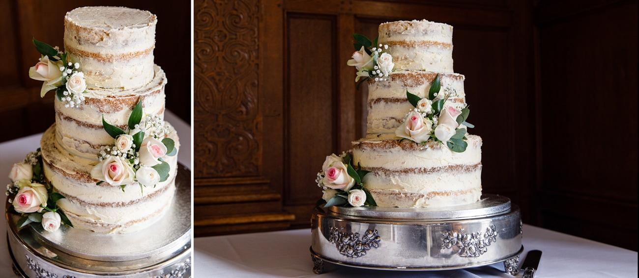 wedding cake on stand at inglewood manor