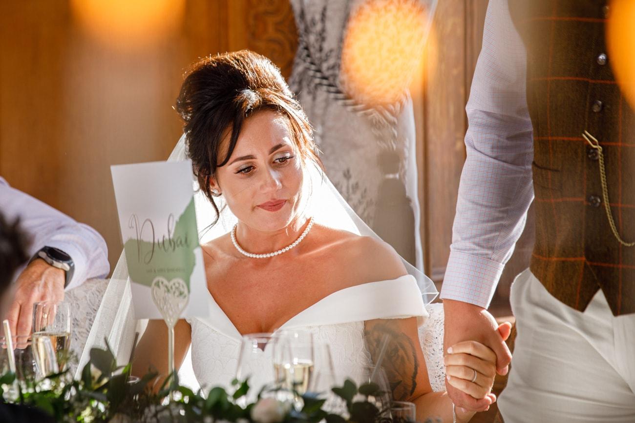 bride during wedding speech
