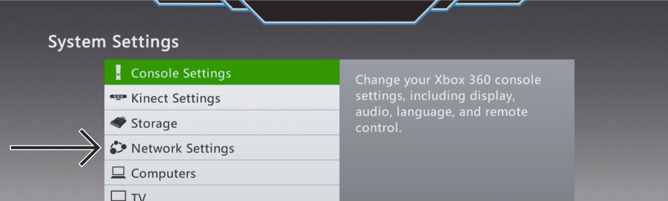 """Select """"Network Settings."""""""