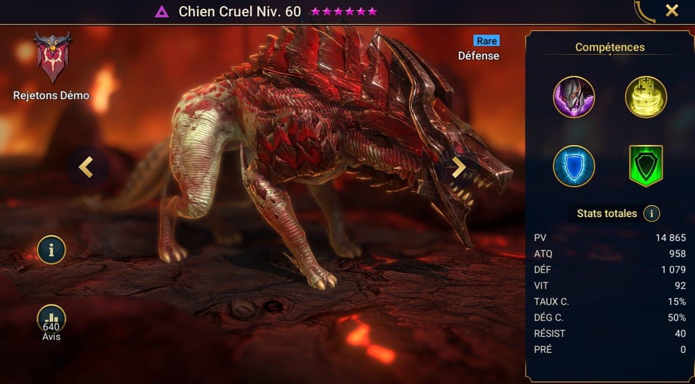 guide maitrises et artefact Chien Cruel (Fellhound)