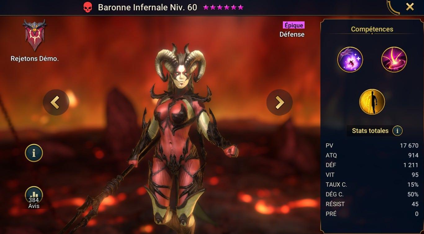 guide artefact et maitrises pour Baronne Infernale (Infernal Baroness)