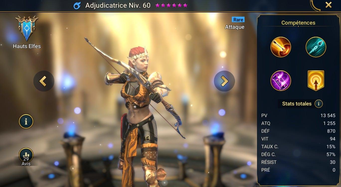 guide artefact sur Adjudicatrice (Adjudicator) dans raid shadow legend