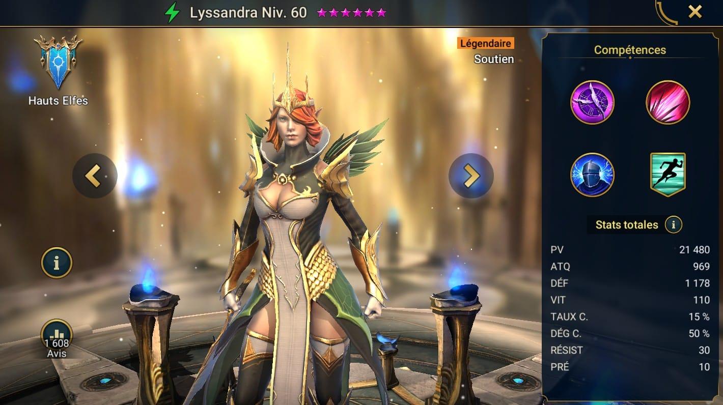 guide maitrises et artefact pour Lyssandra