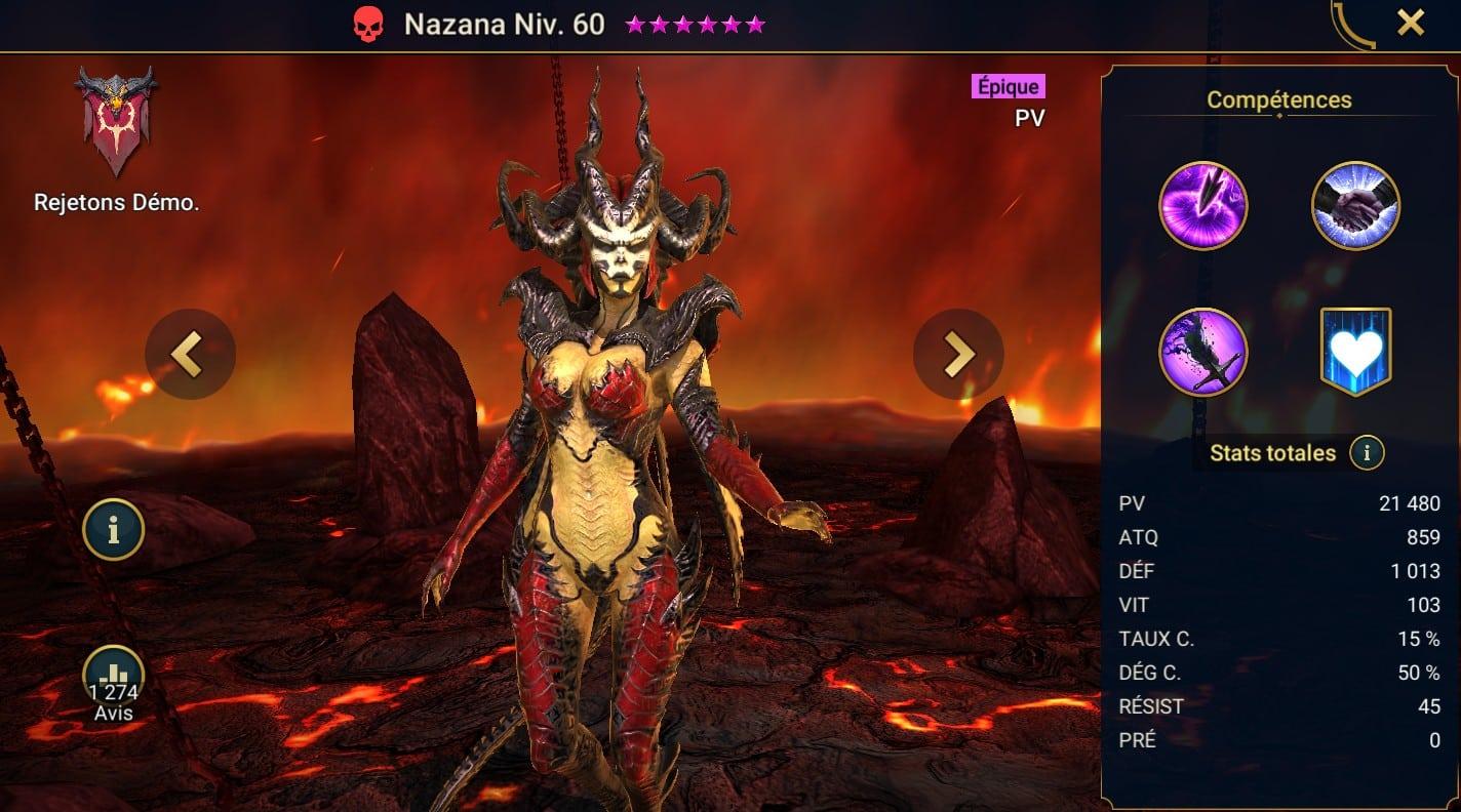 guide maitrises et artefact pour Nazana