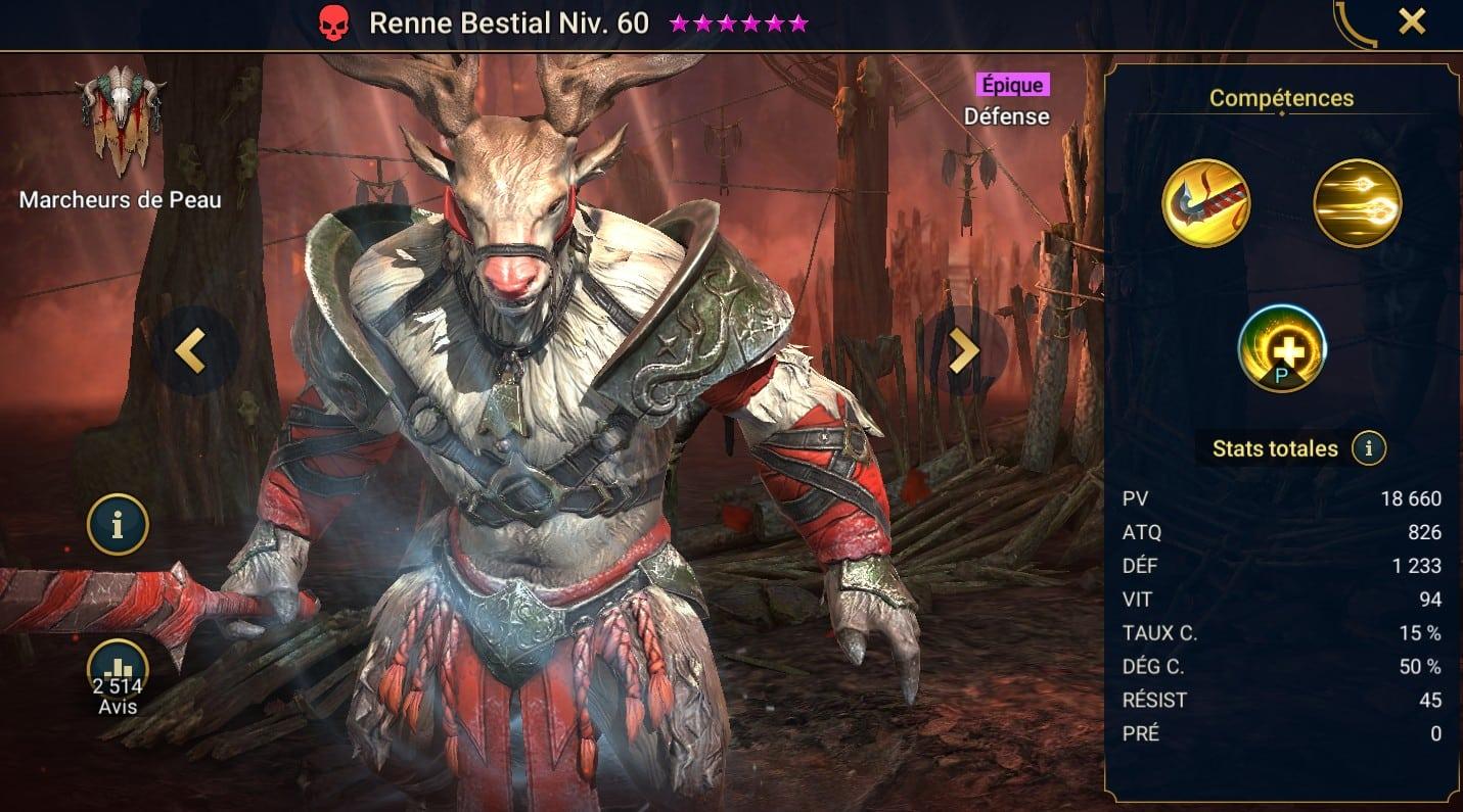 guide maitrises et artefact pour Renne Bestial (Reinbeast)