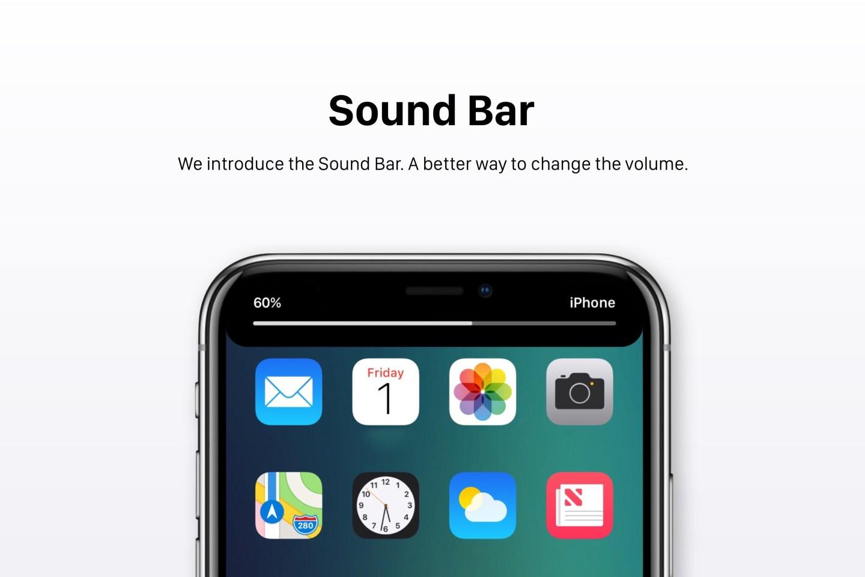 iOS 12 - Homescreen und Soundbar (Konzept)