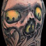 Tatuaje calavera y acanto. Abbyss Zaragoza