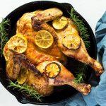 Butterflied Lemon Chicken Roast in Cast Iron Pan