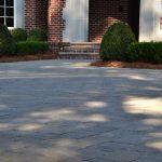 brick patio and shrubs