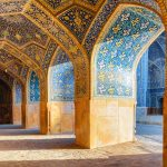 Beautiful vaulted arch passageway at the Shah Mosque in Isfahan