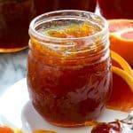 open jar of cara cara orange marmalade homemade jam