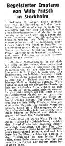 Zeitungsausschnitt: begeisterte Fans von Willy Fritsch in Schweden