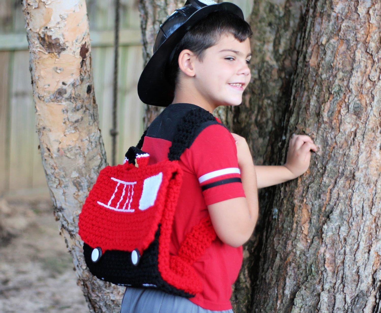 Free Crochet Pattern - Fire Truck Backpack