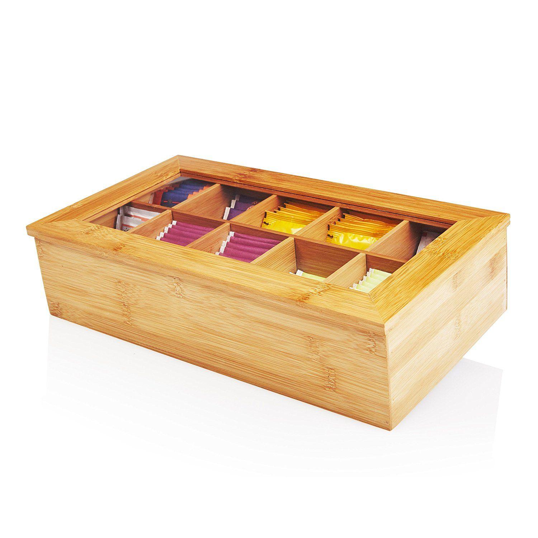 Caja de té de bambú con 10 compartimentos