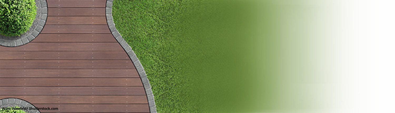 Terrasse, Garten, Rasen, Holz, Holzterrasse