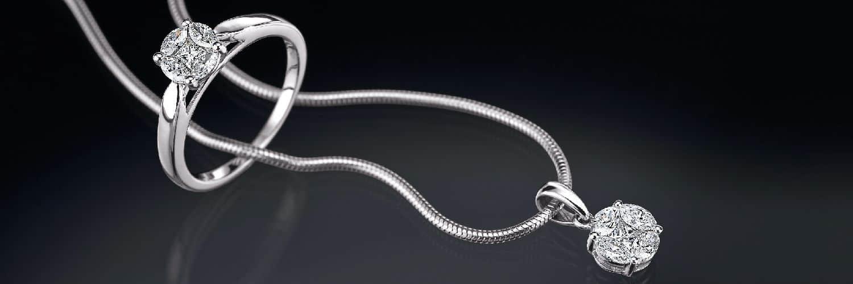 silberne Kette mit Ring