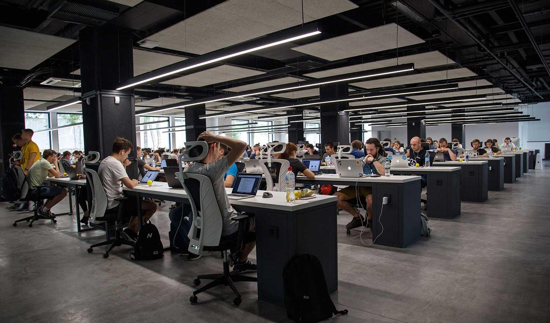 Agile development team working in office