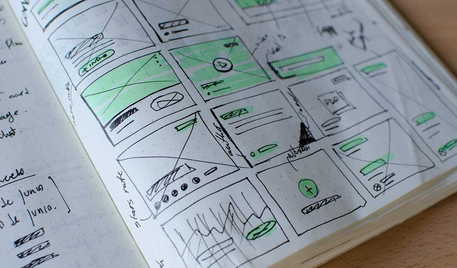 Sketch book with user experience drawings for web application
