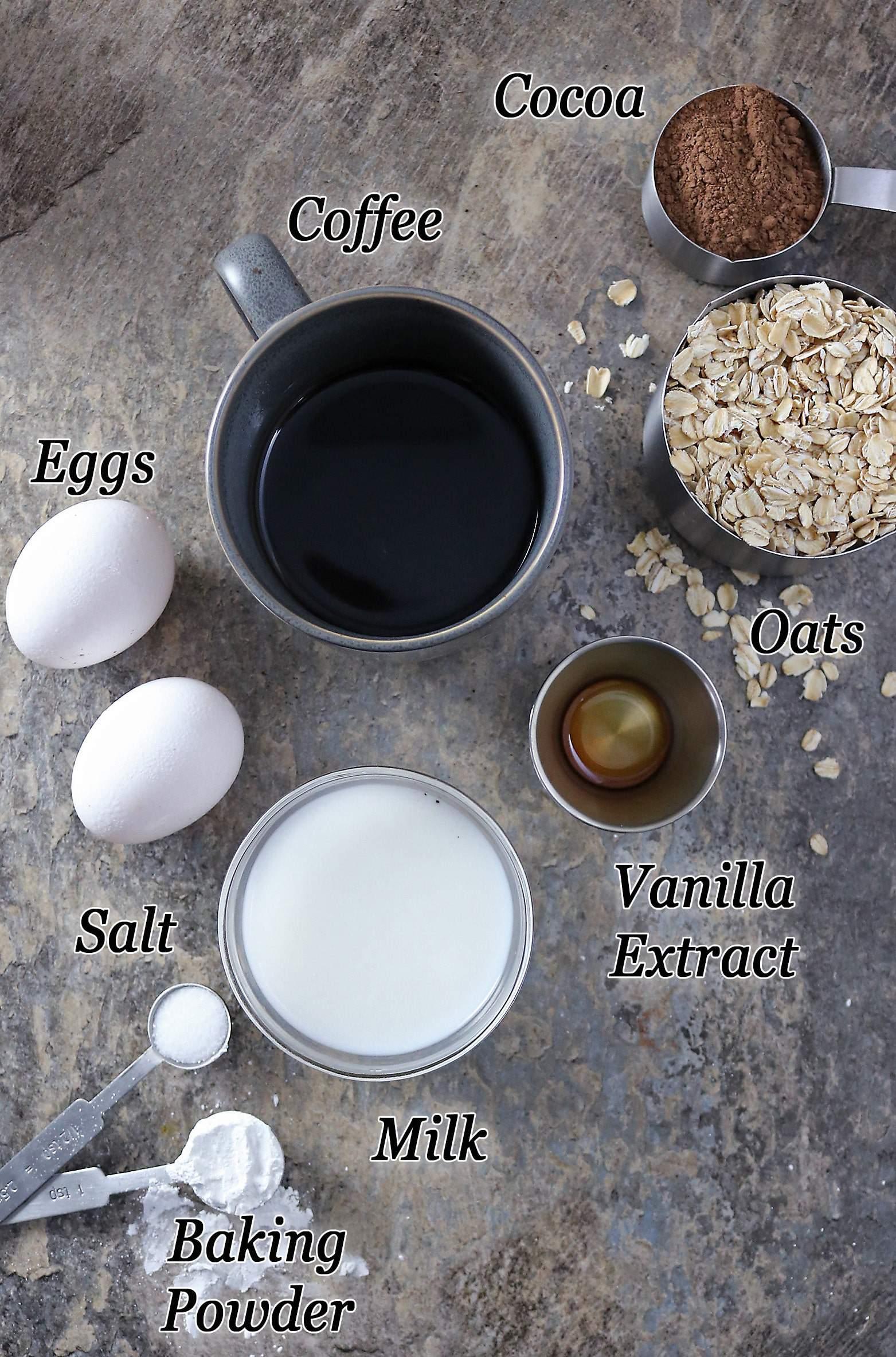 Ingredients to make Chocolate (Mocha) Pancakes