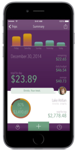 A screen shot of trail wallet, a budget app that lets you track daily vacation spending.
